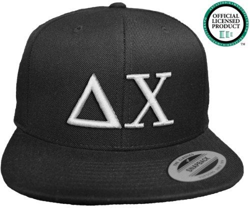 DELTA CHI Flat Brim Snapback Hat White Letters / D. Chi | DX | Fraternity Cap