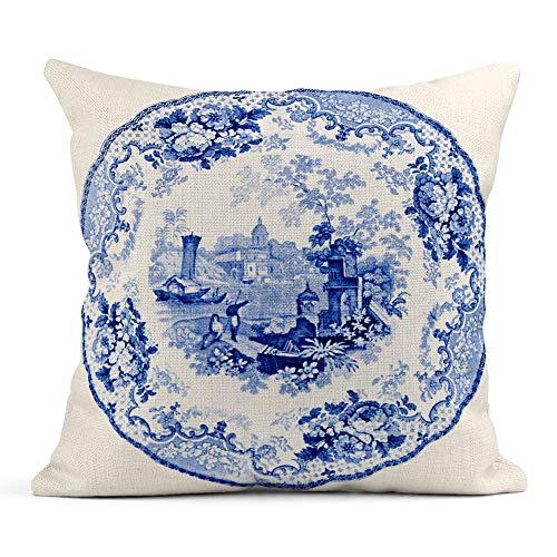Emvency Throw Pillow Cover Print Linen Square 16x16 Inches Hidden Zipper Staffordshire Blue White Pearlware Plate Early Victorian Transfer of Italian Pillowcase one Side Design Home Sofa Decor