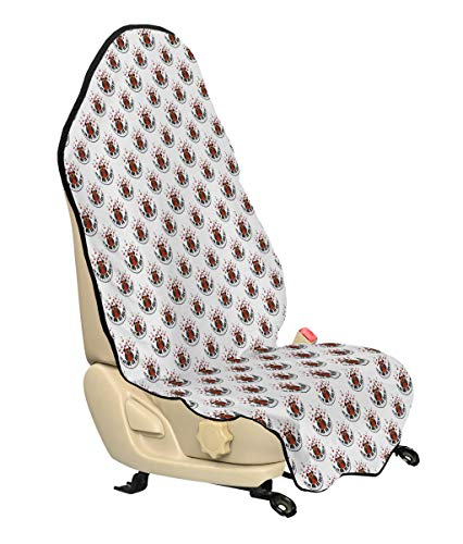 (Ambesonne Owls Car Seat Hoody, Musician Pianist Owl with Headphones and Playing a Moon Shaped Piano Clipart Style, Car and Truck Seat Cover Protector with Nonslip Backing Universal Fit, Brown Grey Red)