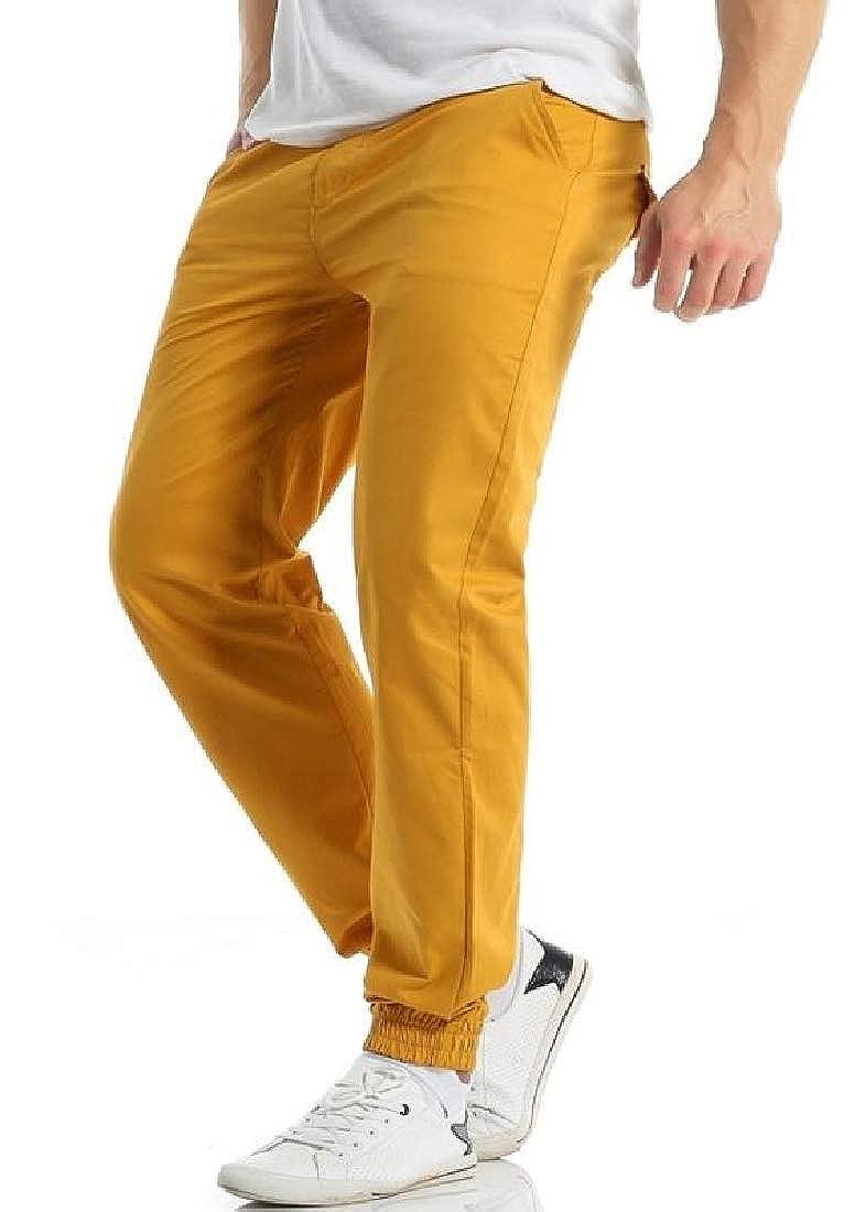 Joe Wenko Mens Casual Solid Jogger Cotton Pocket Trousers Pants
