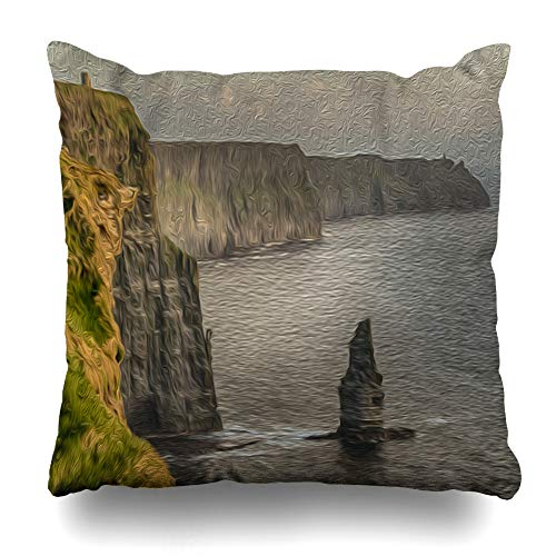 Ahawoso Throw Pillow Cover Vintage Showing Cliffs Moher Ireland in Evening Sunset from County Clare Design Western Decorative Pillowcase Square Size 16