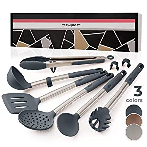 REMIHOF Silicone Kitchen Utensil Set - Nonstick Silicone and Stainless Steel Cooking Utensils - Spatula Turner Ladle… 10