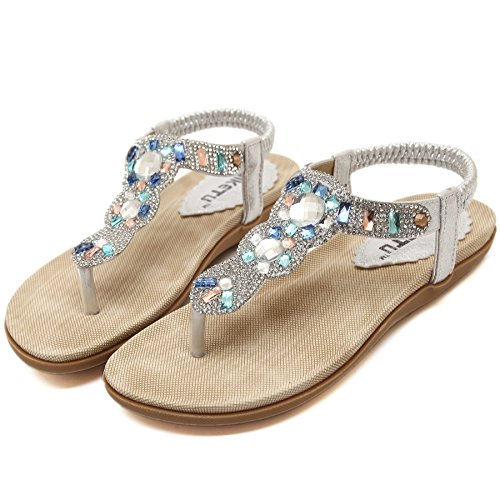 Rhinestone Beads Beach Sandals Womens Summer Shoes Meeshine Flat On Shiny Silver Thong Flops Flip Slip wSXn0