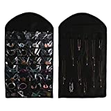 Hanging Jewelry Organizers - Realdios Non-Woven Hanging Closet Accessory Jewelry Holder Organizer Folding Travel Storage Bag for Hanging Necklace Earrings Ring Bracelet(32pocket-Black)