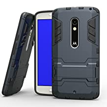 MOONCASE Moto X Play Case Detachable 2 in 1 Hybrid Armor Case Dual-Layer Shockproof Case Cover with Built-in Kickstand for Motorola Moto X Play Blue Black