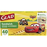 Glad Food Storage Bags, Sandwich Size Zipper Bags, Cars, 40 Count