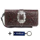 Montana West Clutch Style Try Fold Wristlet Wallet w Key Chain (Coffee Tooled Trinity Ranch Leather)