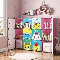 MAGINELS Kid Toy Storage Bookcase Cube Organizer for Children Bookshelf Cabinet Blue Pink Cartoon