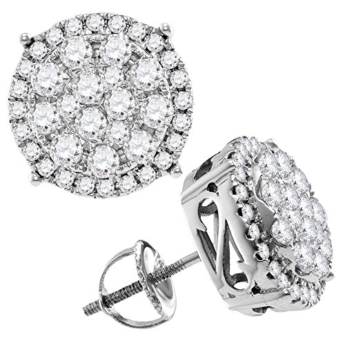 14kt White Gold Womens Round Diamond Concentric Circle Cluster Stud Earrings 2.00 Cttw (Gold Birthstone Earrings Cluster 14kt)