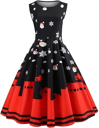 Franterd Vintage Dress for Women Cat Printing Short Sleeve Straps Swing Party Dress