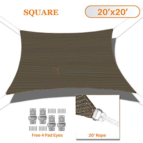 TANG Sunshades Depot 20 x 20 Sun Shade Sail Square Permeable Canopy Brown Coffee Custom Commercial Standard