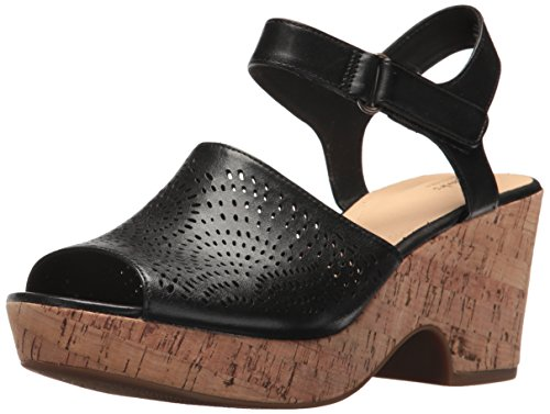 CLARKS Women's Maritsa Nila Wedge Sandal Black Leather