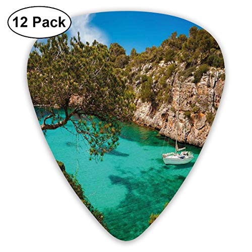 Guitar Picks 12-Pack,Small Yacht Floating In Sea Majorca Spain Rocky Hills Forest Trees Scenic View