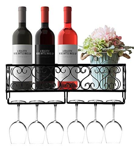 HOMEPOPULAR Metal Wall Mounted Wine Rack With Glass Holder And Bottles Opener Wine Bottle Holder For Living Room Or Kitchen,Black(Hold 6 bottles) (Holders Bottle Metal Wine)