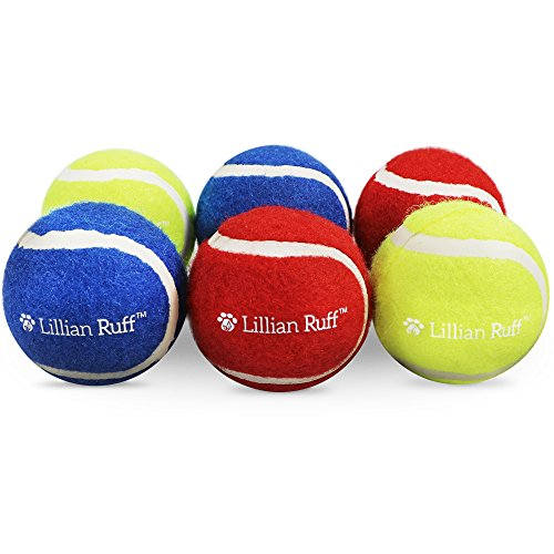 Lillian Ruff Tennis Balls for Dogs - 6 Pack Set of Blue, Yellow and Red Pet Safe Toy Balls - Regular Size Tennis Balls - Great for Fetch with Small, Medium and Large Dogs
