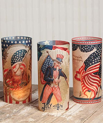 Bethany Lowe Vintage Inspire Americana Luminaries (Set/6) - American Flag Candles