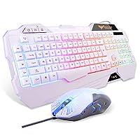 Havit Rainbow Backlit, juego con cable, teclado, ratón, combo, LED, 104 teclas, USB, ergonómico, reposamuñecas, teclado, 3200 ppp, 6 botones, ratón para PC con Windows, PC de escritorio, computadora (blanco)