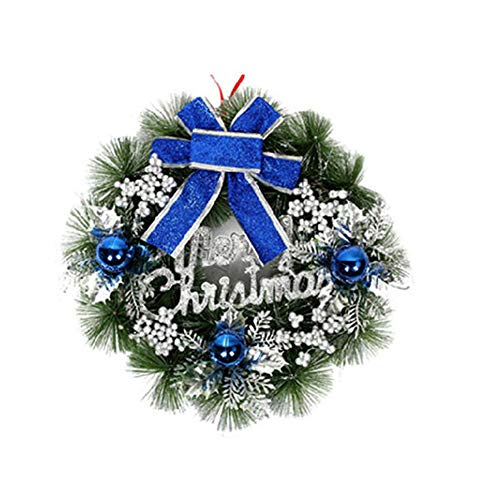 Brave669 Clearance Deals!!Christmas Garland Wreath Door Tree Bell Bowknot Hanging Ornament Home Decor Blue 40cm