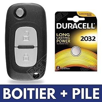 Caja de mando a distancia Plip - Carcasa llave Renault Clio 3 • Modus • Twingo 2 • Kangoo • Megane ✚ pila Duracell CR2032: Amazon.es: Electrónica