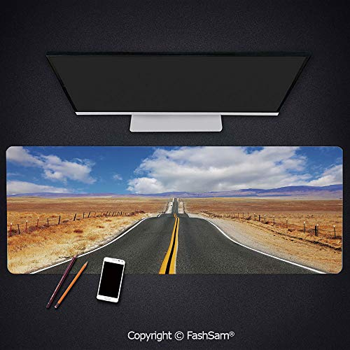 Desk Large Mat Mouse Pads Highway in California Steppe and Clouds Asphalt Road Horizon Hills Journey Decorative Keyboard Pad for - Laptop Asphalt