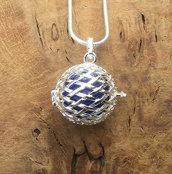 Jaula de plata con bola azul oscuro l Harmony Ball collar Kit l Bola mexicano l un bonito regalo de embarazo