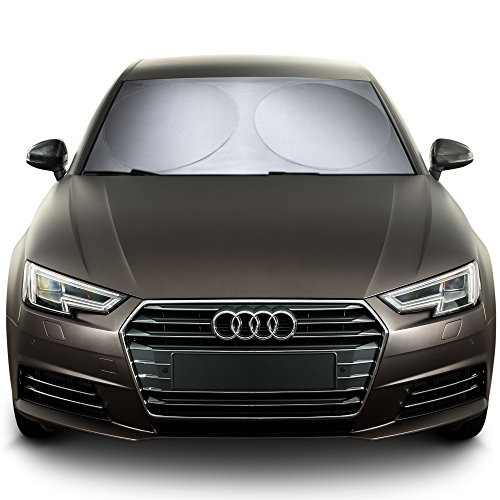 (Best Car Windshield Sun Shade + Free Product. Durable, Nylon Heat Block and UV Protection Sunshades - Sunlight Blocker - Reflective Coating, Easy Storage)