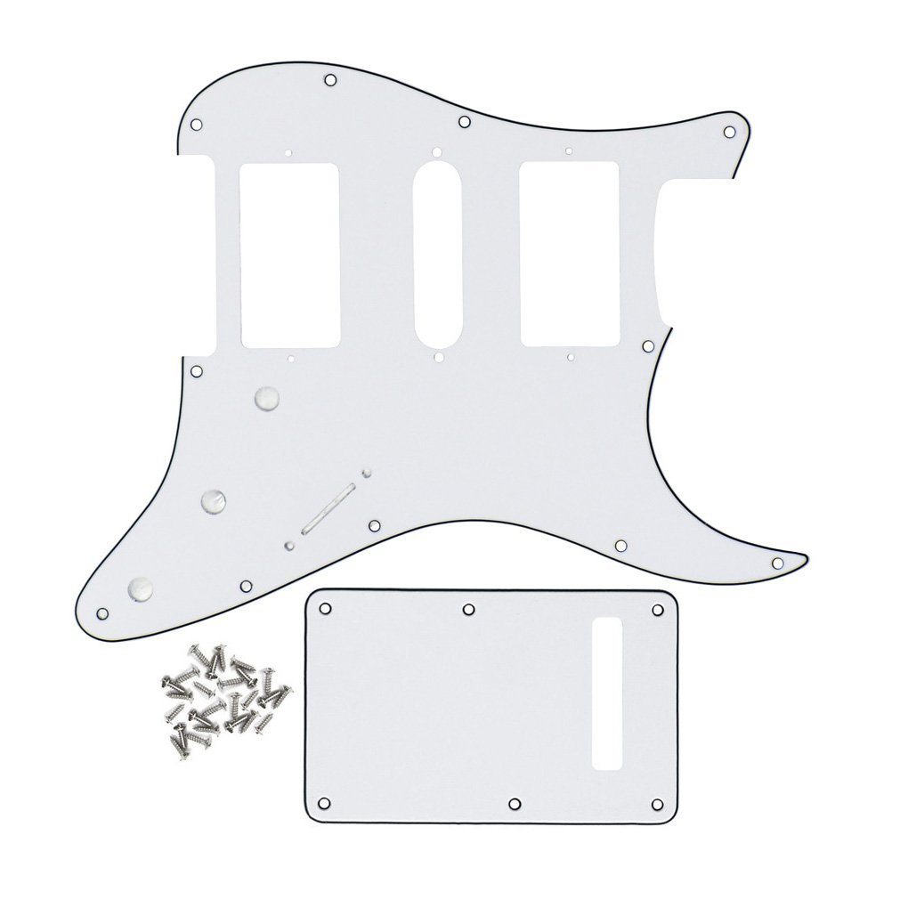FLEOR 11 Hole Standard Strat Style Guitar Pickguard HSH & Tremolo Cavity Cover for Fender Style, 3Ply White