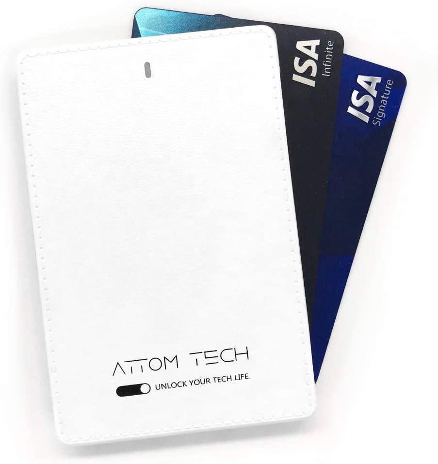 Attom Tech 2500mAh Power Bank Mini,Back-up Phone Battery Pack Ultra Slim,Pocket Size Thin External Phone Battery Pack Emergency Phone Power Built-in Charging Cable for Android Micro USB and Apple(WHT)