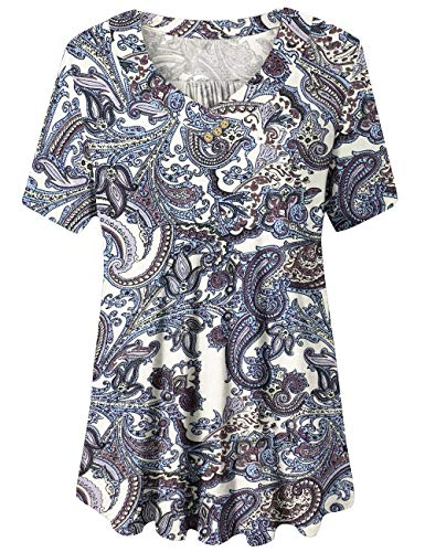 U.Vomade Women's Swing Shirt Plus Size Summer Short Sleeve Blouse Flowy Tunic Tops 01 4X