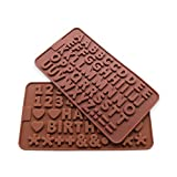 Candy Making Molds, 2PCS BakePlus [Letter/Alphabet and Number Shape Mold] Silicone Candy Molds for Home Baking - Reusable Silicone DIY Baking Molds for Candy, Chocolate or More, Set of 2