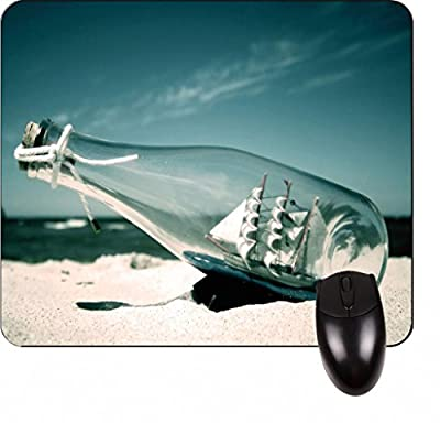 Ship in A Bottle On the Beach Square Mousepad - Stylish, durable office accessory and gift