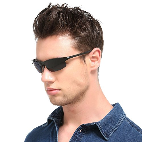 soleil Homme Des en sports léger de Freiesoldaten Noir Cadre lunettes métal Des Mg Conduite Ultra Noir Oq8dwxH