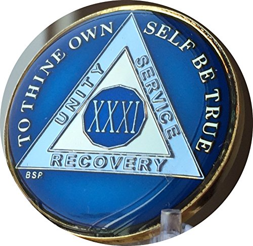 31 Year Midnight Blue Aa Alcoholics Anonymous Medallion Chip Tri Plate Gold   Nickel Plated