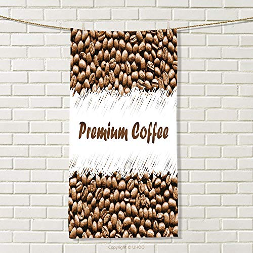 smallbeefly Coffee Travel Towel Freshly Roasted Arabica Beans Premium Quality Doodle White Border Being Robust Quick-Dry Towels Cocoa White Size: W 27.5