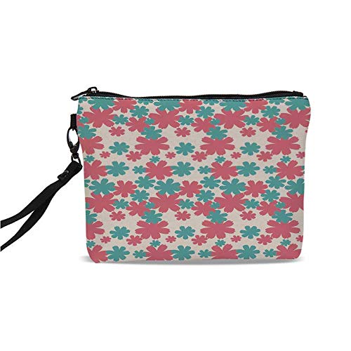 Garden Simple Cosmetic Bag,Big Bold Growing Flowers Burst Lush Grand Forest Plants Pastel Colored Artwork for Women,9