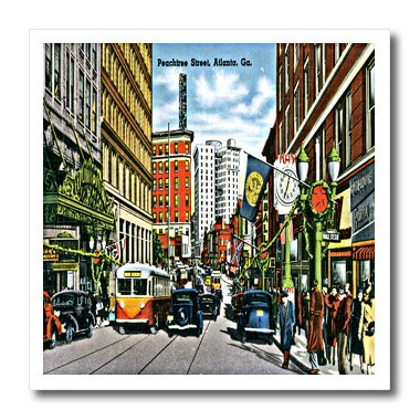3dRose ht_169764_1 Peachtree Street Atlanta Georgia with Antique Cards & People Iron on Heat Transfer Paper for White Material, 8 by 8