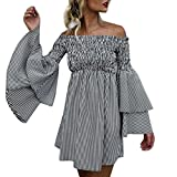 Pengy Women Fashion Boho Off Shoulder Flare Sleeve Stripe Casual Sundress Party Dress Pleated Dress (Black, XL)