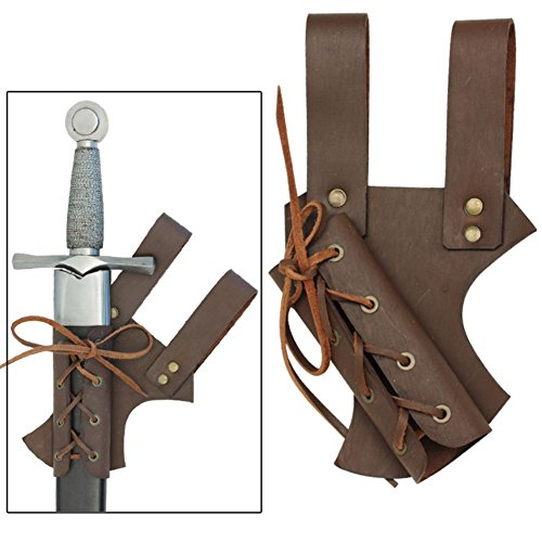 Leather Frog (Medieval Renaissance Hawk Wood Genuine Real Leather Sword Right Hand Frog Brown)