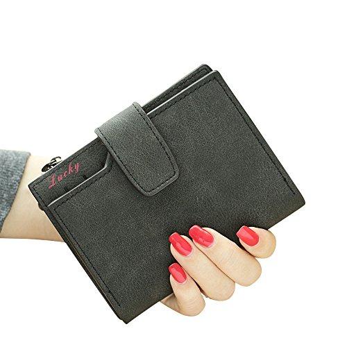 Woolala Pu Leder Taschen Geldbörse Mit Multi Karten Slots, Kleine Geldbörse Mit Reißverschluss Münzen Veränderungn, Blau Back