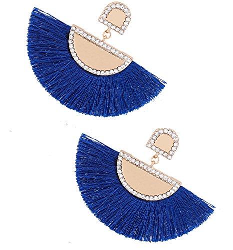 g for Women HSWE Round Leather Fringe Earrings (Royal blue) ()