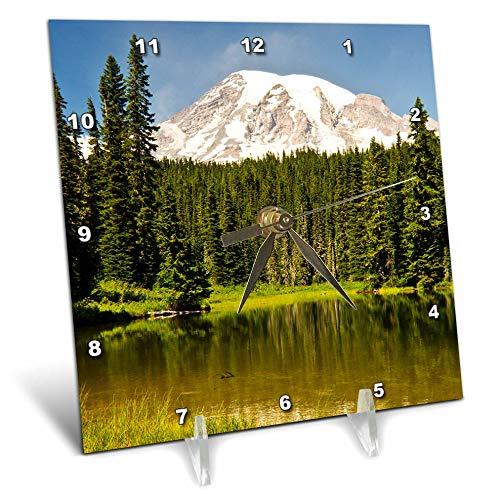 (3dRose Danita Delimont - Washington - Mount Rainier, Reflection Lakes, Washington State, USA. - 6x6 Desk Clock (dc_315177_1))
