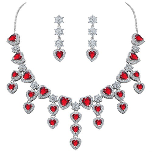 (BriLove Women's Gorgeous Bridal CZ Heart Shape Cluster Flower Statement Necklace Dangle Earrings Set Ruby Color Silver-Tone July Birthstone)