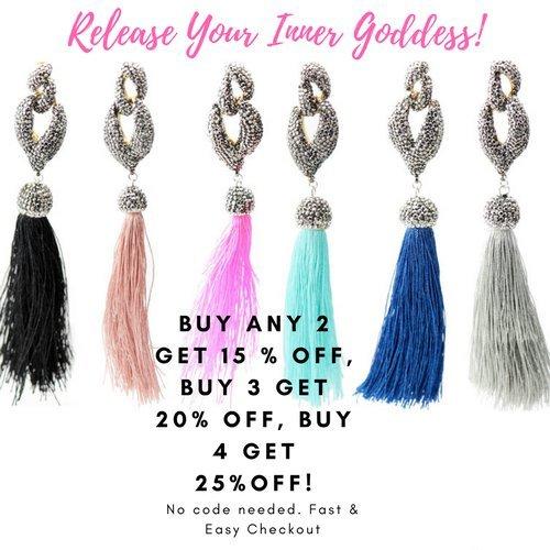 NEW Big Bold Beautiful High End Fashion Tassel Rhinestone Drop Dangle Druzy CZ Stud Earrings   28 Designs (Dancing Black) by Trend Builder Inc (Image #4)