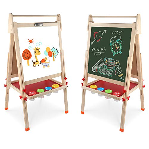 Wooden Art Easel Double-Sided Whiteboard & Chalkboard Adjustable Standing Easel with Paper Roll Holder,Extra Letters and Numbers Magnets and Other Accessories for Kids,Toddlers,Boys and Girls]()