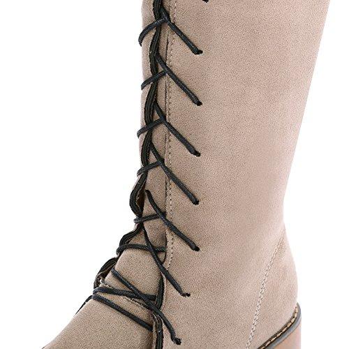 Allhqfashion Mujeres Frosted Zipper Redondo Cerrado Kitten-heels High-top Botas Albaricoque