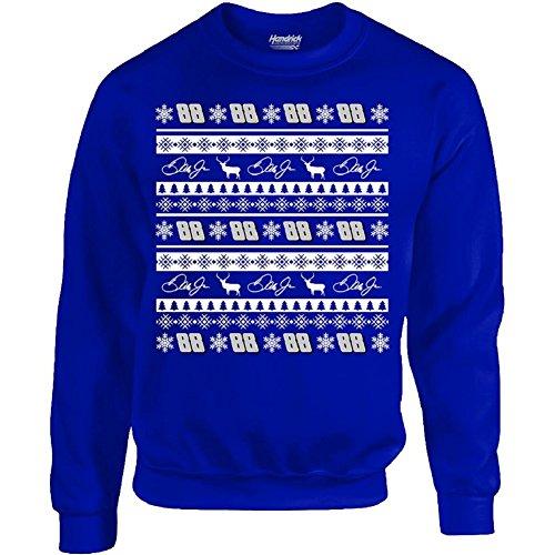 NASCAR Men's-Driver-Ugly Sweater-Christmas-Crew Sweatshirt-Dale Earnhardt Jr #88-Royal-Medium