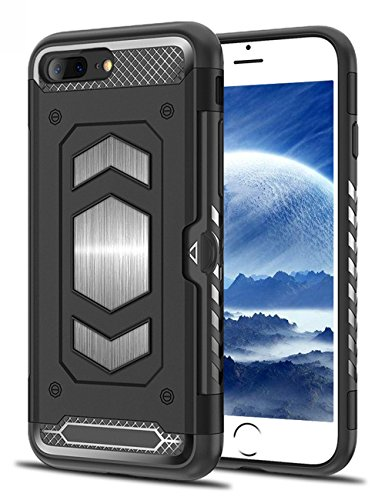 iPhone 7 Plus Case, iPhone 8 Plus Case, Teryei Military Grade Duty Premium Protective Cases Shock Magnetic Cell Phone Holder for car,Phone case iPhone 8 Plus case with Card Holder (Black)