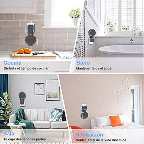 Echo Accesorios, Soporte para Estuche de Montaje en Pared Echo Dot Soporte Funda Protectora para Amazon Echo Dot (3ra generación) Accesorios Que ahorran Espacio para Altavoces domésticos sin Cables ni Tornillos (Negro) 7