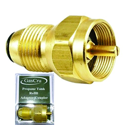 Gascru Propane Refill Adapter - SAFEST Tank Fill Attachment - This Brass Regulator Valve Accessory Fits All 1 lb Cylinder Tanks - Lifetime Guarantee (Bottle Heaters Propane)