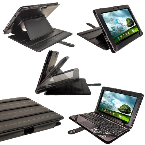 iGadgitz Black 'Guardian' PU Leather Case Cover for Asus Transformer Pad & Keyboard Dock TF700 TF700T Infinity 10.1